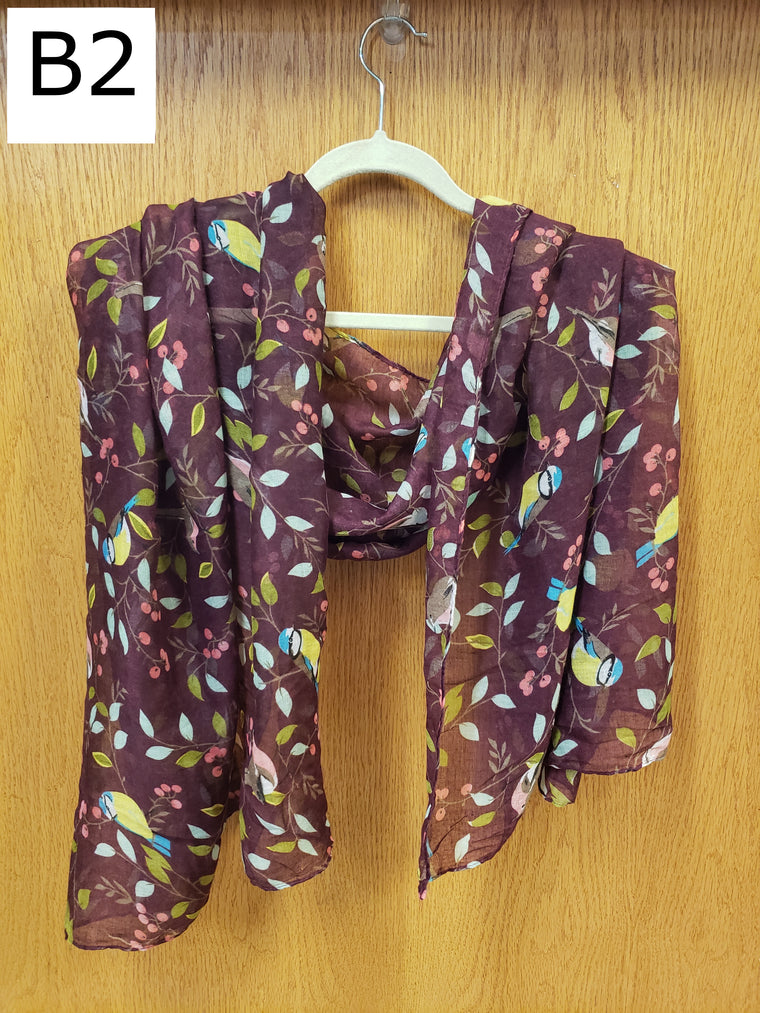 Scarf - Birds, Burgundy - $18