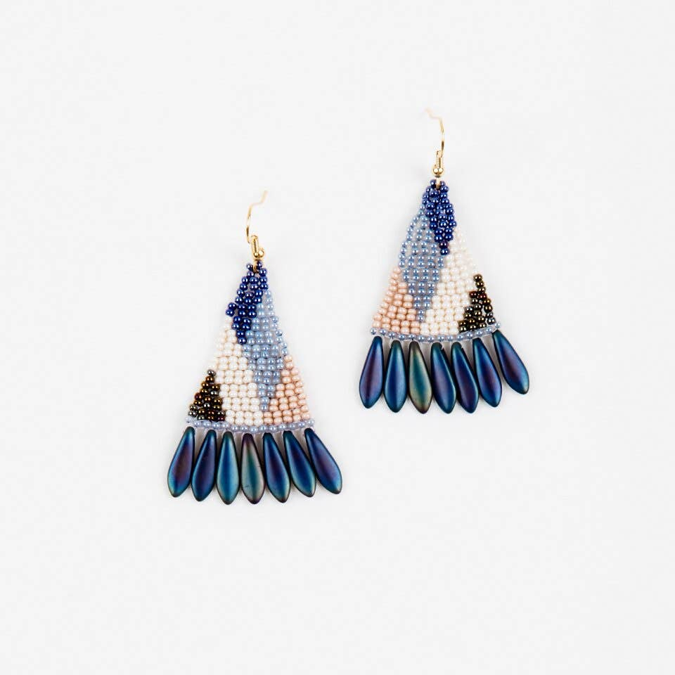 Graphic Spike Fringe Earrings - Denim