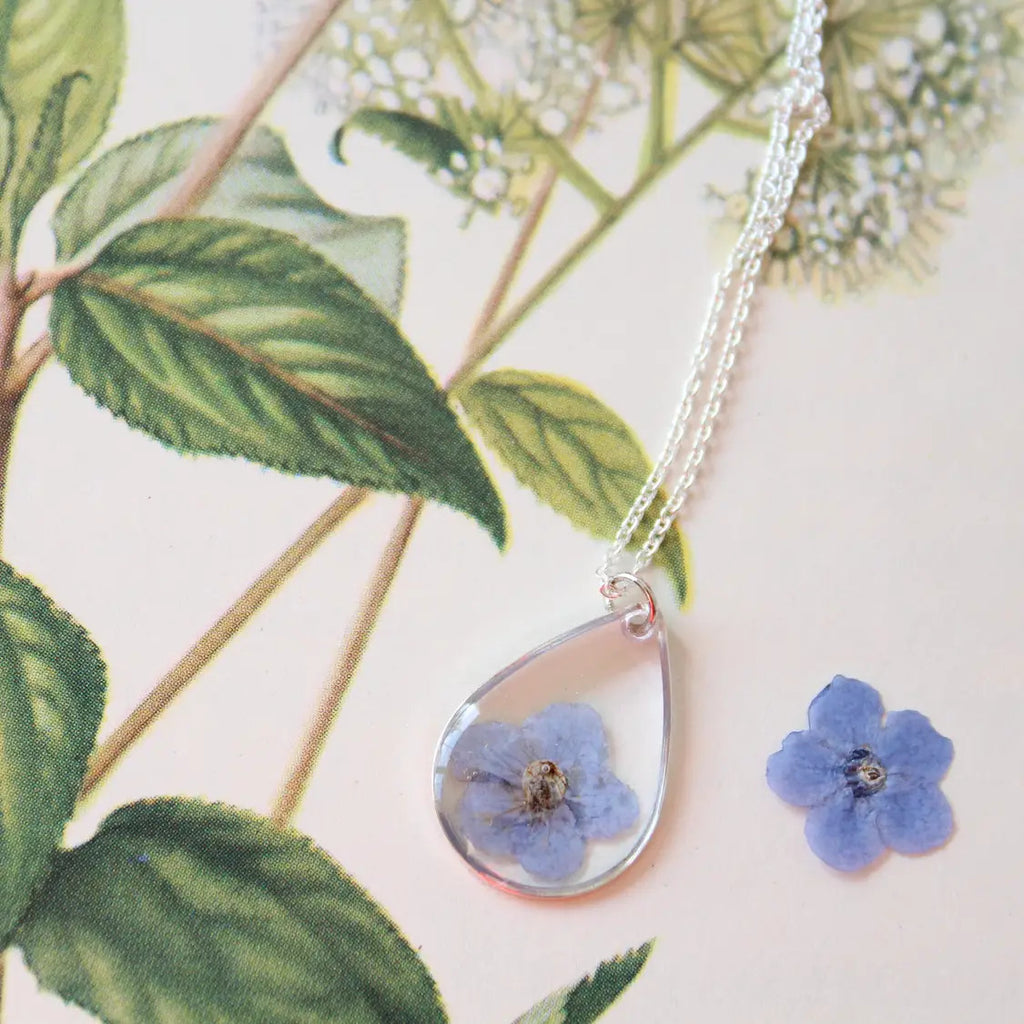 Blue Forget Me Not Silver Teardrop Necklace