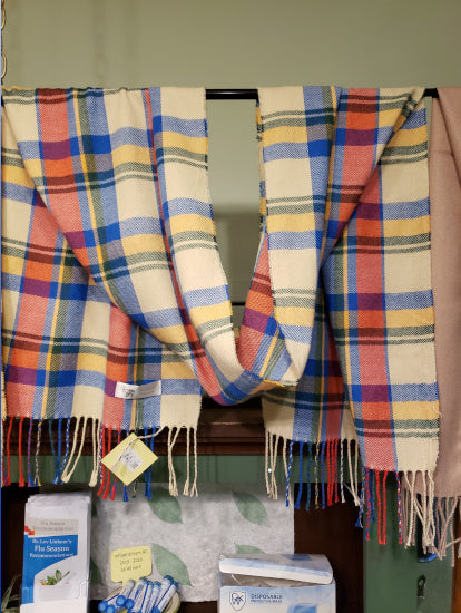 Scarf - Yellow Blue Red Plaid Cashmere - $26