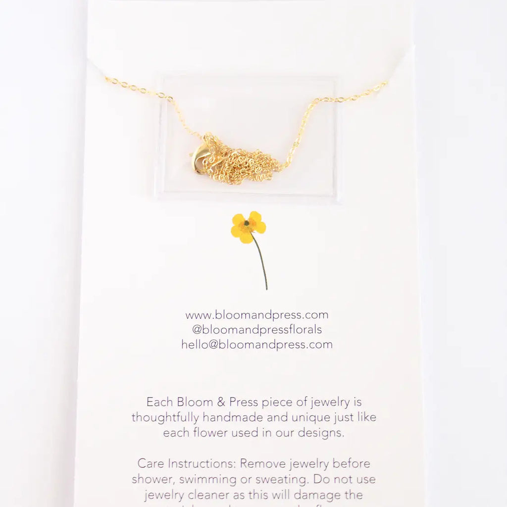 Four Leaf Clover Gold  Pressed Flower Necklace
