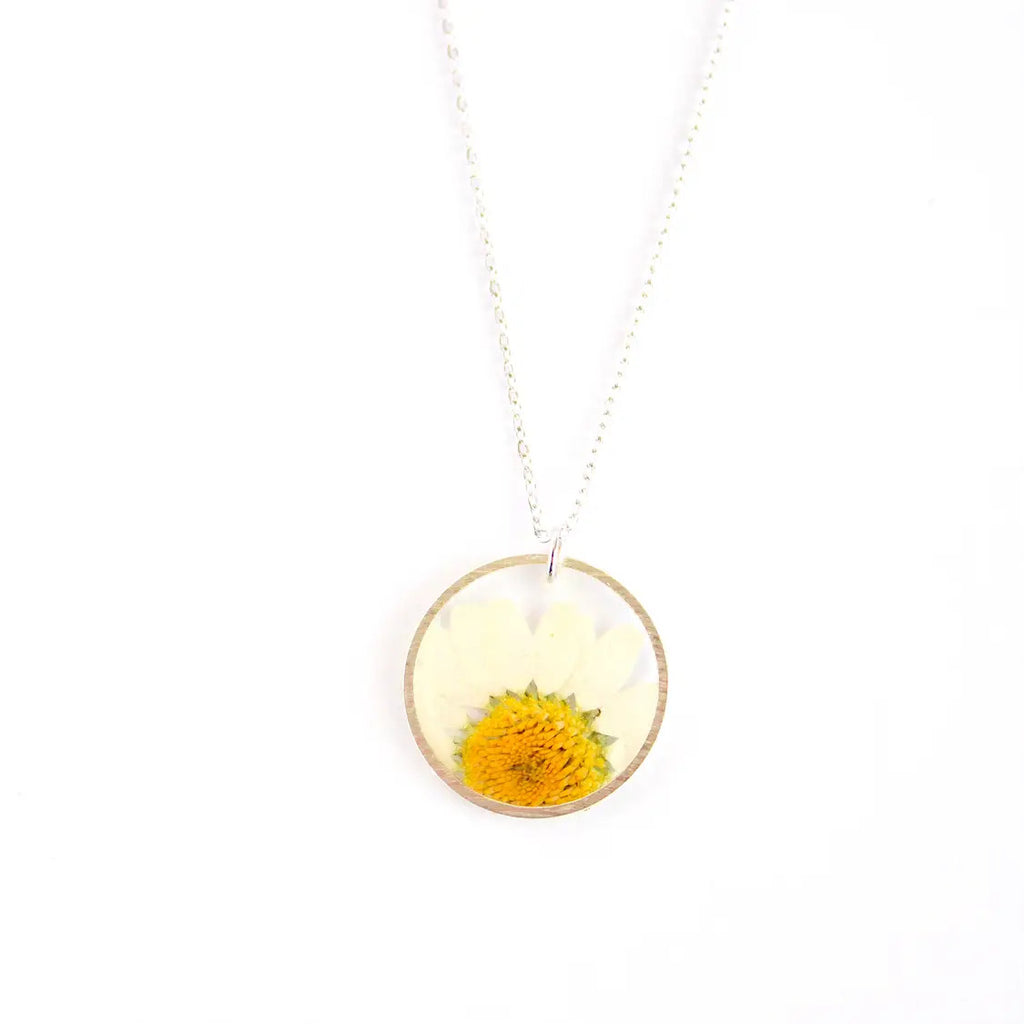Daisy Silver Circle Pressed Flower Necklace