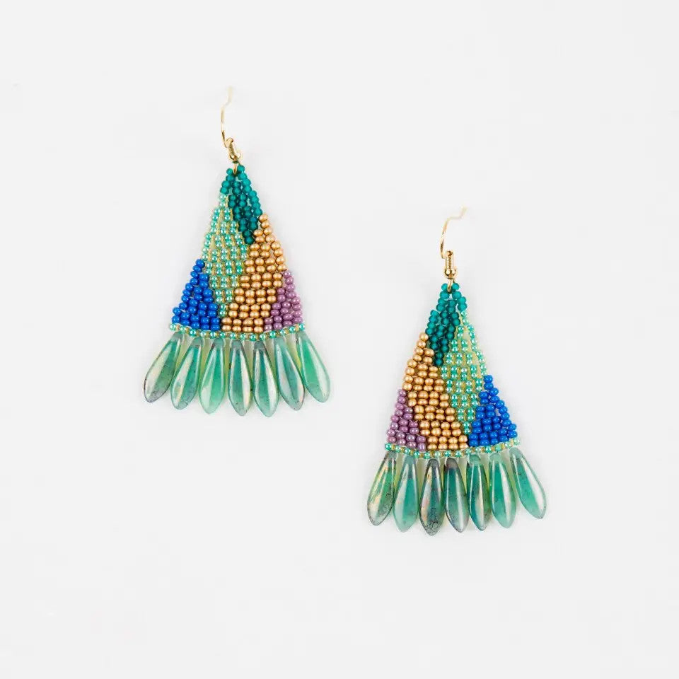 Graphic Spike Fringe Earrings - Fresh Multi