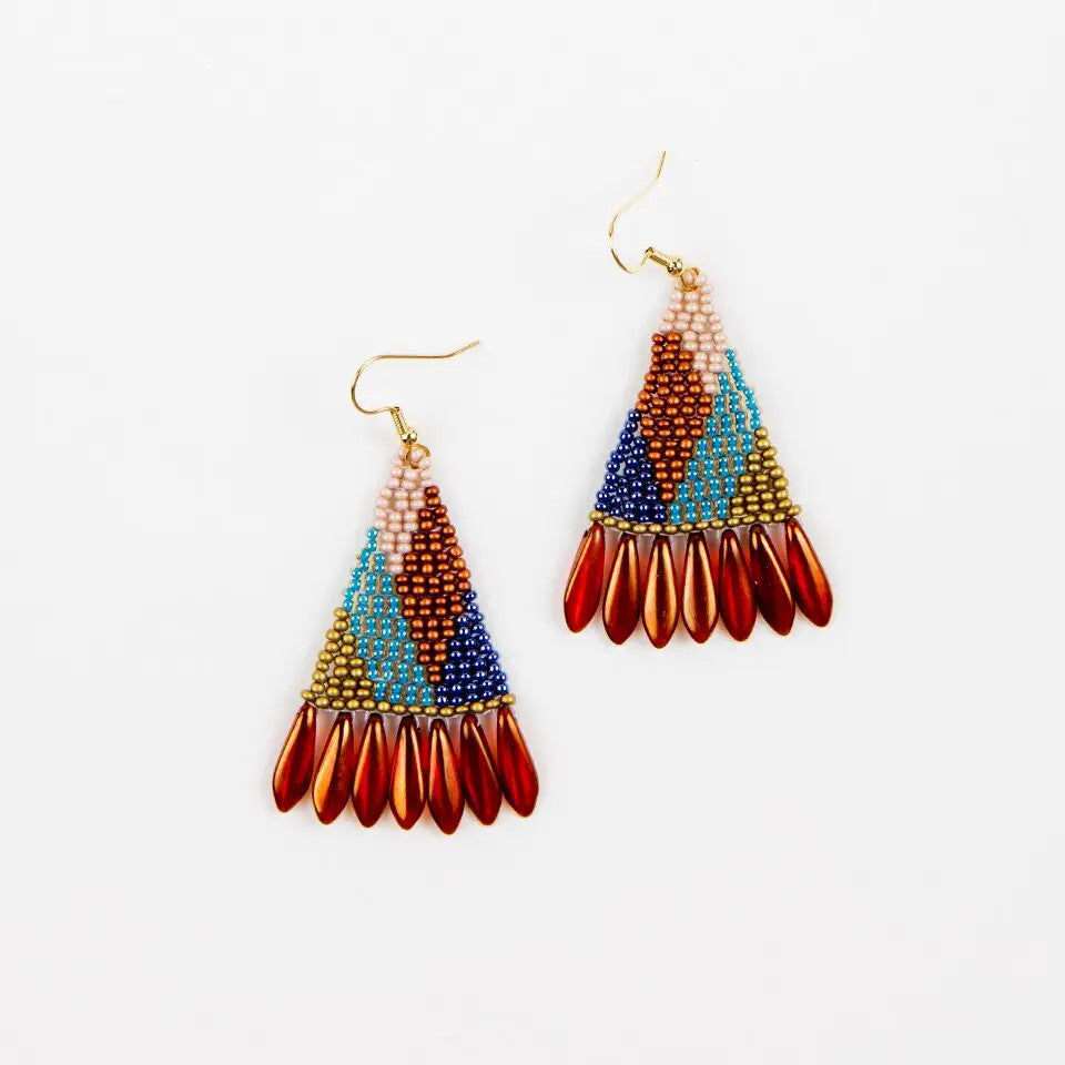 Graphic Spike Fringe Earring - Multi Bronze