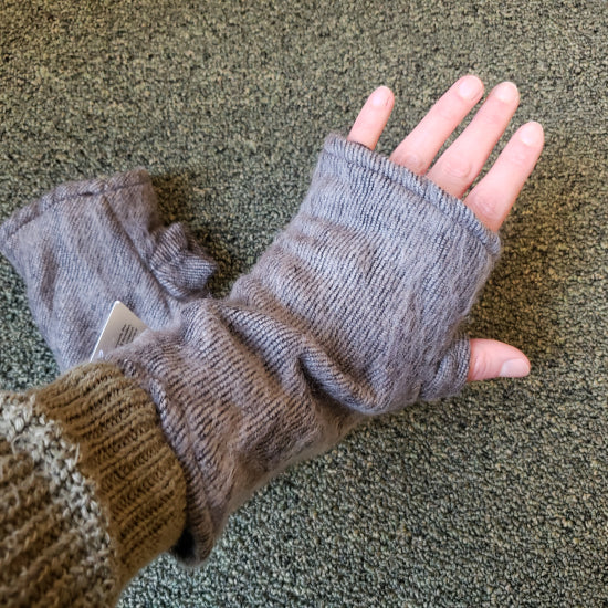 Brushed Woven Arm Warmer Gloves - Gray