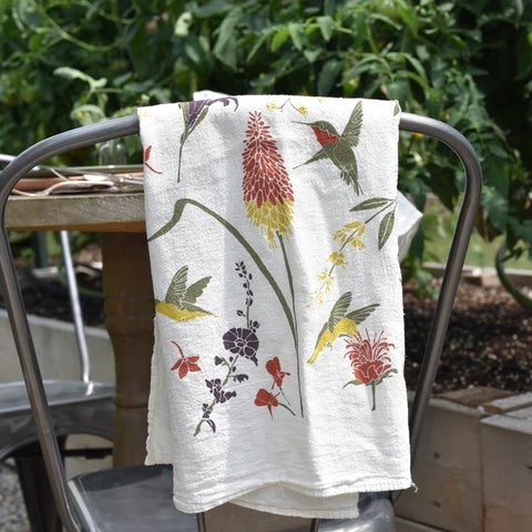 Cotton Tea Towel - Hummingbird Garden - $16