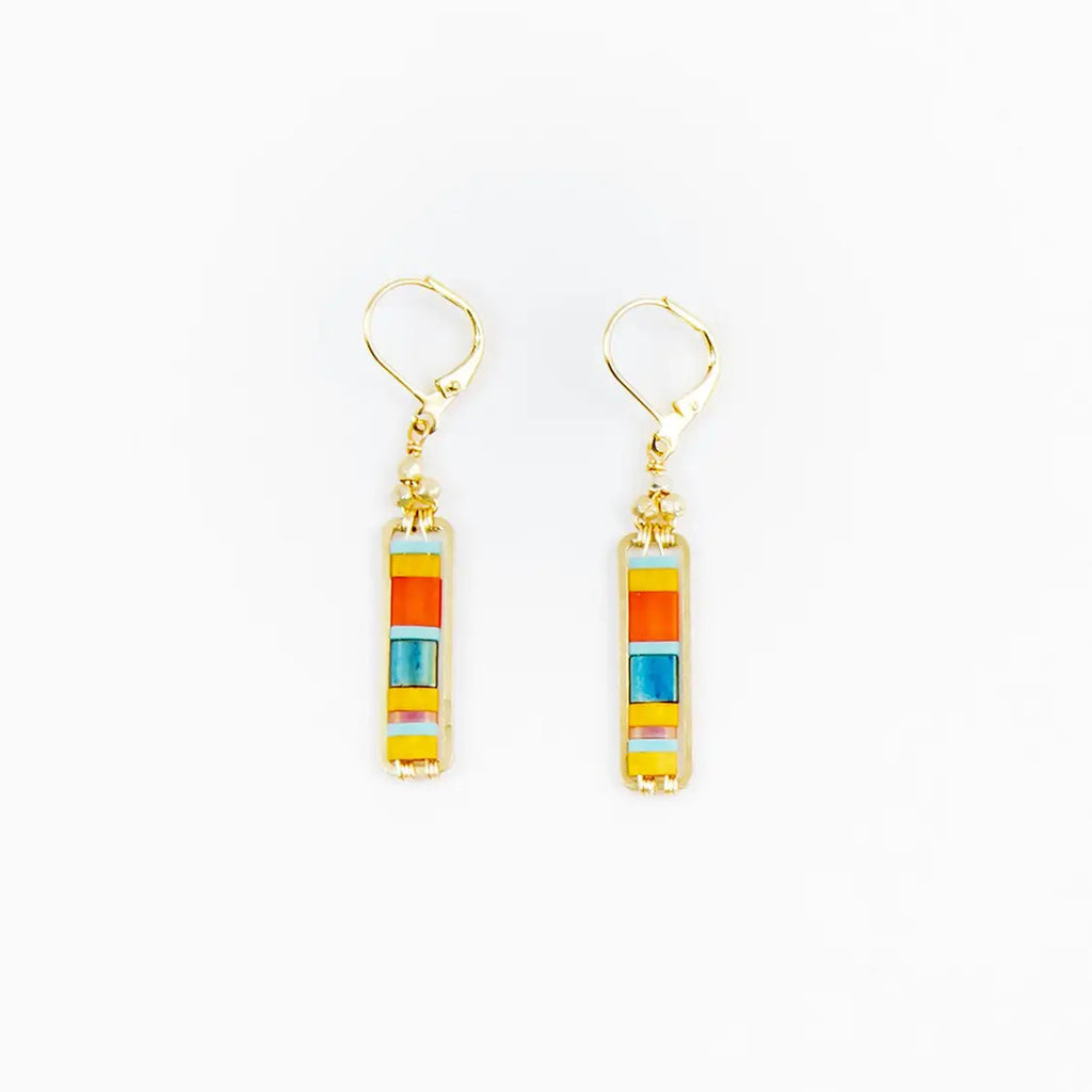 Miyuke Colorblock Dangle Earring - Dark Turquoise