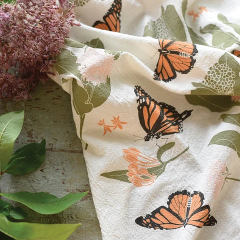 Cotton Tea Towel - Monarchs + Milkweed - $16