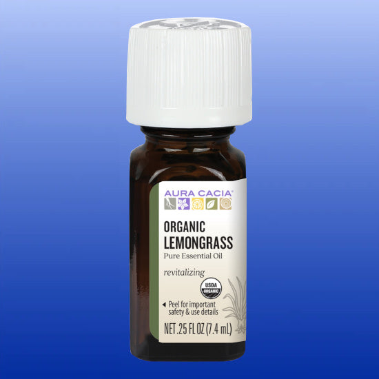 Organic Lemongrass Essential Oil 0.25 Oz