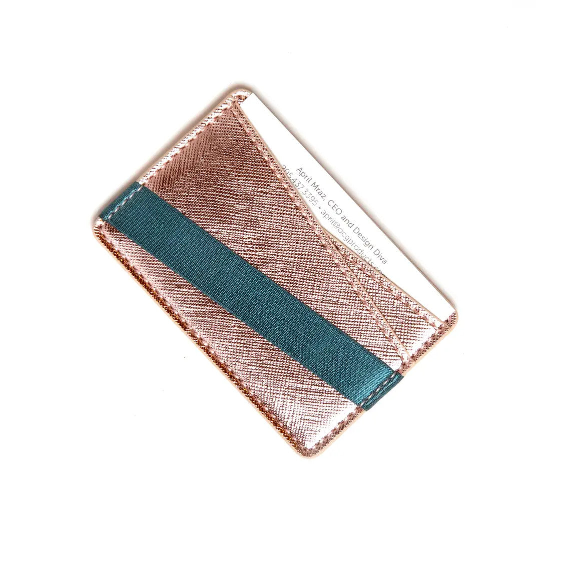 Origami Phone Back Wallet - Rose Gold & Turquoise