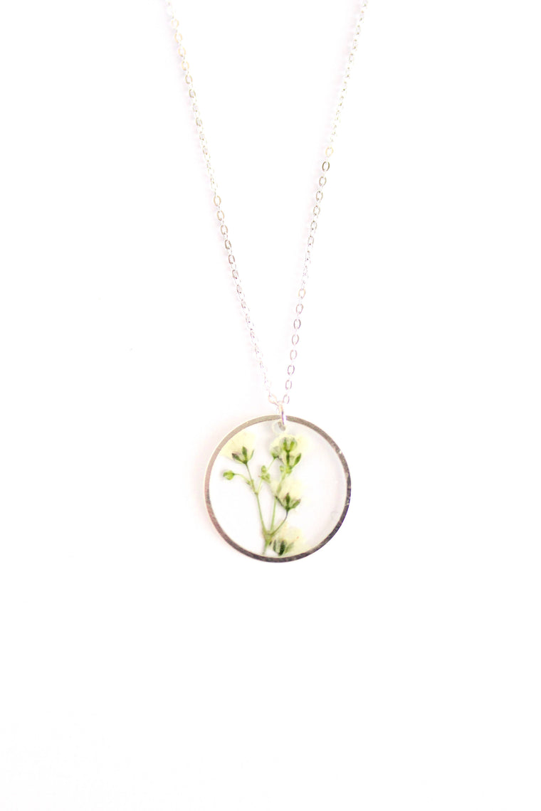 Babies Breath Silver Pressed Flower Necklace
