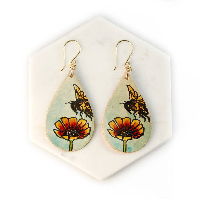 Bee and Flower Earrings