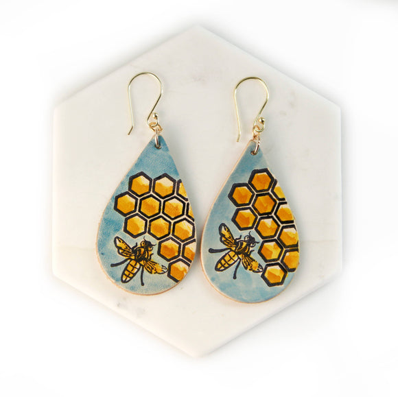 Bee and Honeycomb Earrings