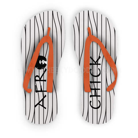 CheekyDoodah Bespoke Designed Afro Chick Flip Flops - Orange straps