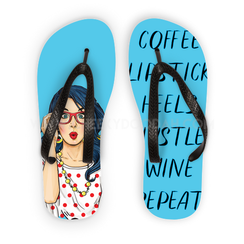 "CheekyDoodah Slogan Blue Flip Flops ""Coffee Lipstick Heels Hustle Wine Repeat"" Black straps"
