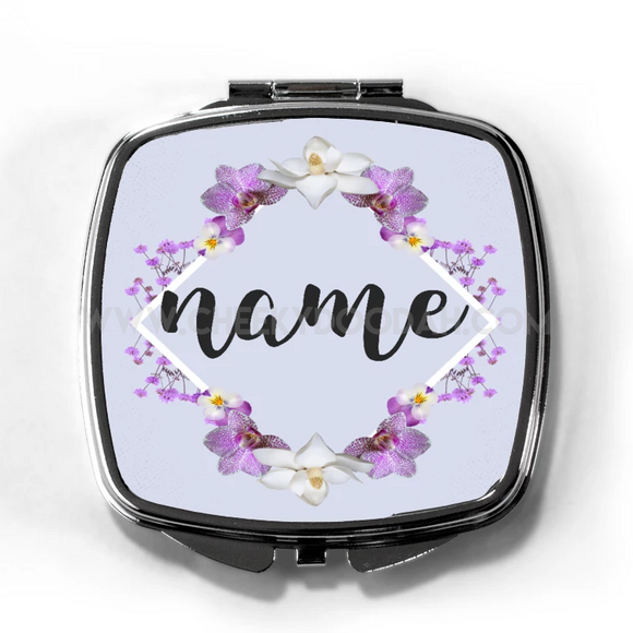 Personalised Floral Compact Mirror - CheekyDoodah