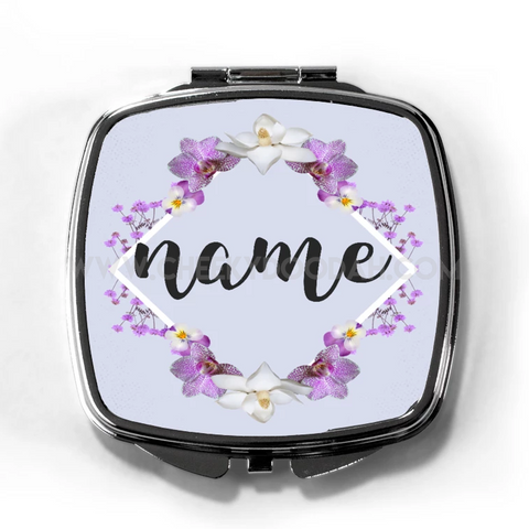 Personalised Floral Compact Mirror-Compact mirrors-CheekyDoodah