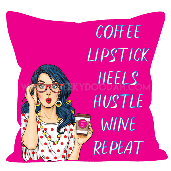 'Coffee Lipstick Heels' Cushion - CheekyDoodah