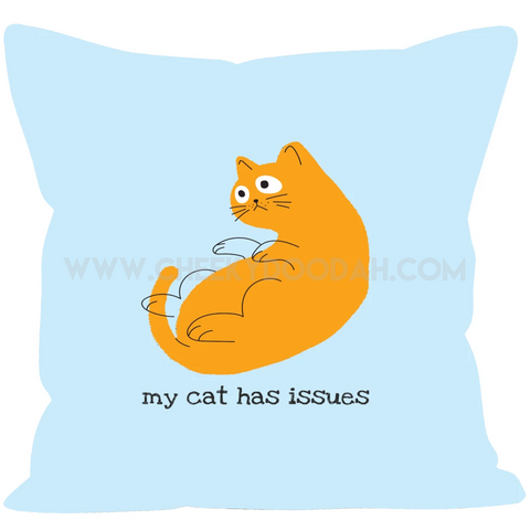 "CheekyDoodah 'My Cat Has Issues' with funny cat design in Linen or Faux Suede Cushions with inners, in 12"" or 18"" square"