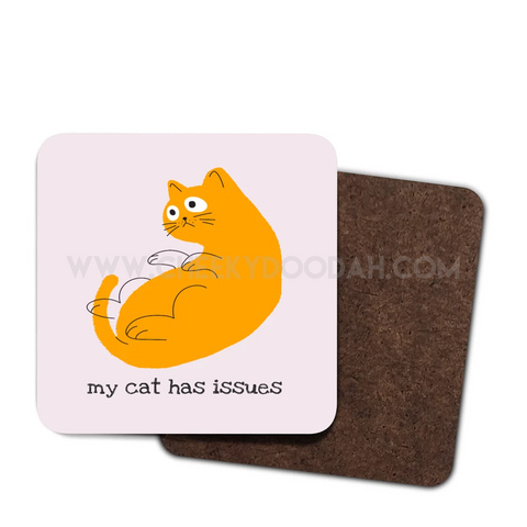 CheekyDoodah 'My Cat Has Issues' fun slogan 4 pack wood coaster set with cute cat design