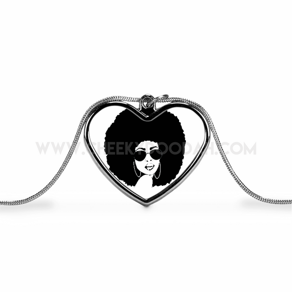 Afro Chick Love Heart Necklace - CheekyDoodah