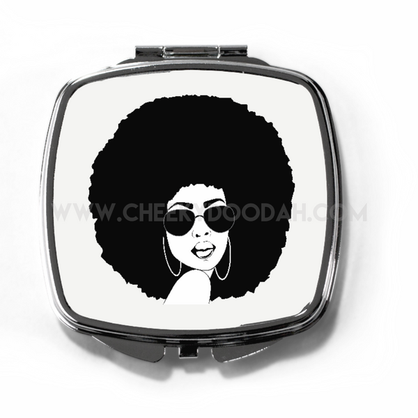 CheekyDoodah Afro Chick Compact Mirror