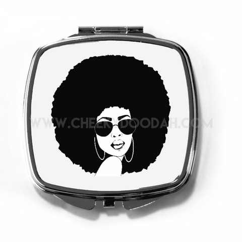Afro Chick Compact Mirror-Compact mirrors-CheekyDoodah