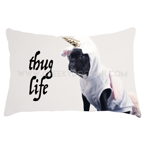 CheekyDoodah Thug Life Lumbar cushion with image of cute pug in unicorn costume