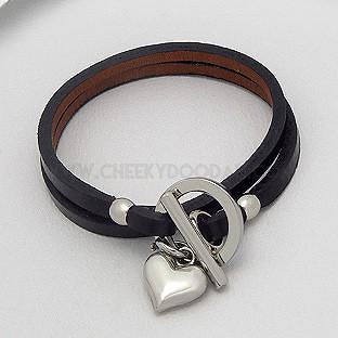 Black leather double layer bracelet with silver