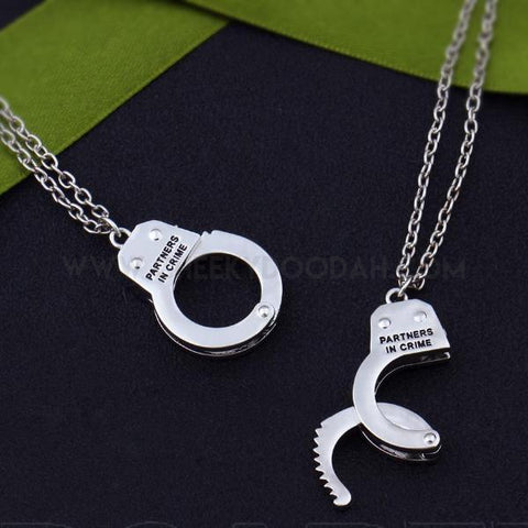 BFF Partners in Crime Handcuff 2Pc Necklace Set - CheekyDoodah