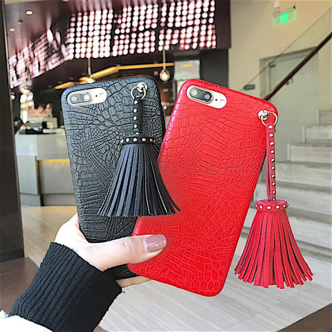 Crocodile Pattern Tassel iPhone Case