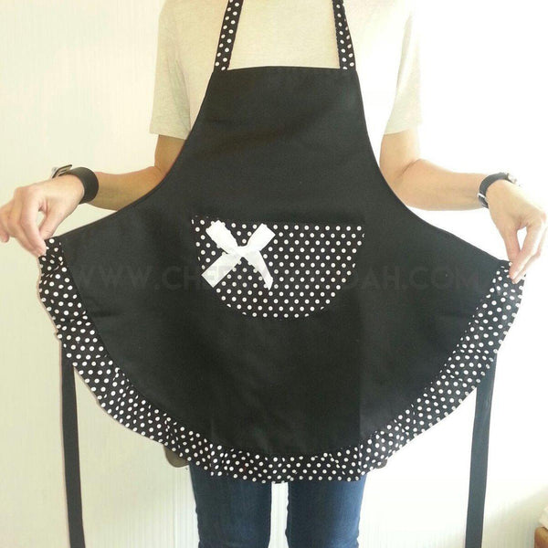 CheekyDoodah Black Apron with Polka Dot and Central Pocket
