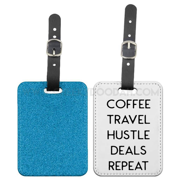 'Coffee Travel Hustle' Luggage Tag - CheekyDoodah