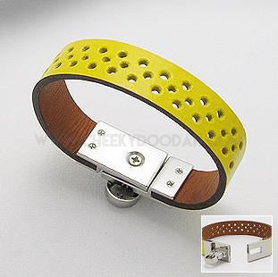 Yellow Leather bracelet with unique punch hole strap - CheekyDoodah