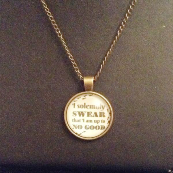 Fun Bronze Necklace I Solemnly Swear I Am Up To No Good