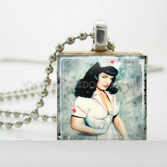 Square Scrabble Fun Necklaces - Sexy Nurse or Zombie Hugs - CheekyDoodah