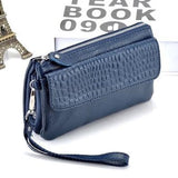 Leather Cosmetic Organiser Wallet or Clutch Navy Blue