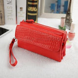 Leather Cosmetic Organiser Wallet or Clutch Red