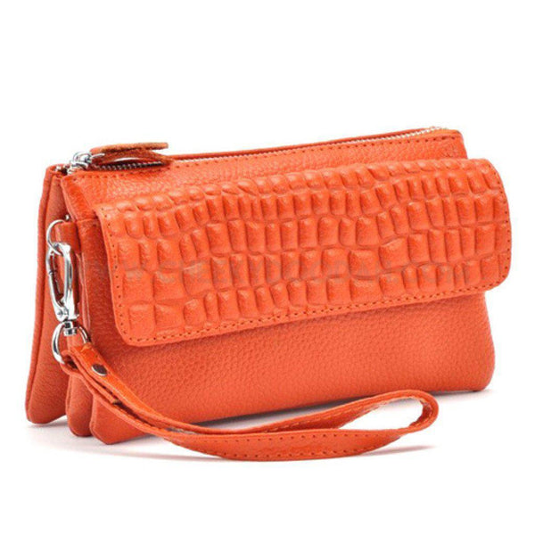 Leather Cosmetic Organiser Wallet or Clutch Orange
