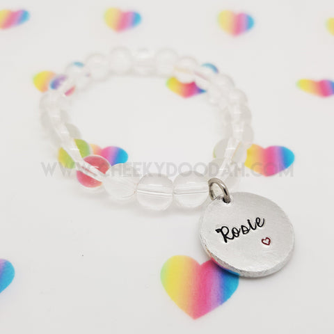 CheekyDoodah Personalised Disc Bead Bracelet in Clear Bead