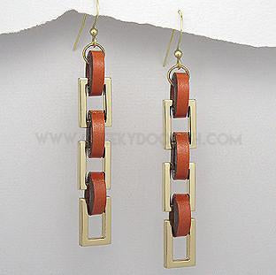 Burnt Orange and Gold plated drop earrings