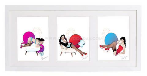 Framed vintage inspired original illustrations - 'Triple Trouble' - 52cm x 25cm