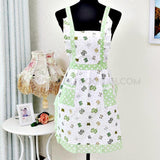 Vintage inspired apron with Green bows