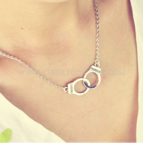 Handcuff Silver plated Necklace - CheekyDoodah