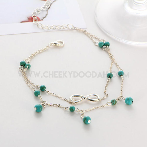 Double Infinity Bead Anklet with Turquoise stone charms