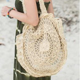 Boho Crochet Tote Bag - Beige side view with lady
