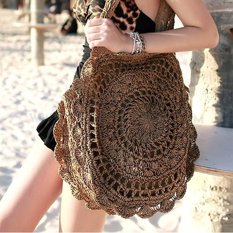 Boho Crochet Tote Bag - Brown
