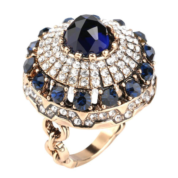 Luxury Oversized Vintage Crystal Ring - CheekyDoodah