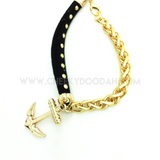 CheekyDoodah Anchor Chain Bracelet in Black Faux Leather & Gold chain