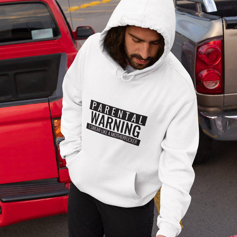 CheekyDoodah - Parental Warning I Swear Like A MotherF - Mens College Hoodie